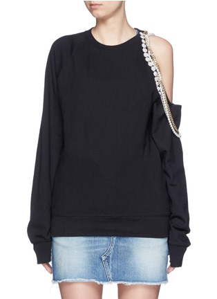 Main View - Click To Enlarge - Forte Couture - Embellished asymmetric cold shoulder sweatshirt