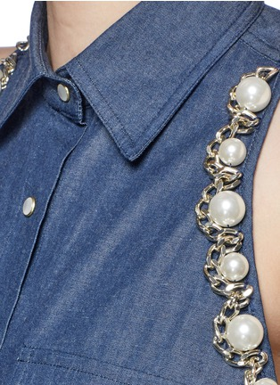 Detail View - Click To Enlarge - Forte Couture - Faux pearl chain cold shoulder cotton shirt