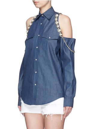 Front View - Click To Enlarge - Forte Couture - Faux pearl chain cold shoulder cotton shirt