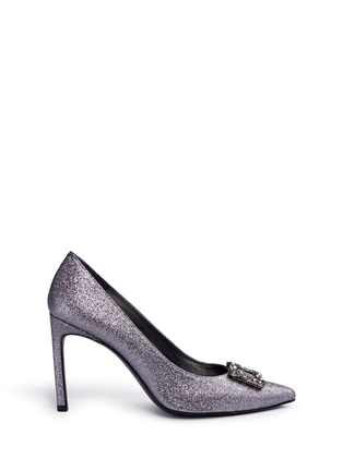 Main View - Click To Enlarge - Stuart Weitzman - 'Divine Heist' Swarovski crystal brooch glitter pumps