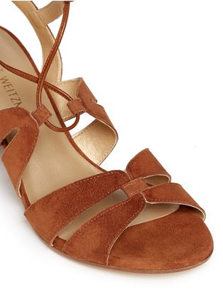 Detail View - Click To Enlarge - Stuart Weitzman - 'Grecian' lace-up suede gladiator sandals