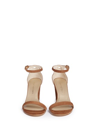 Front View - Click To Enlarge - Stuart Weitzman - 'Nearly Nude' block heel suede sandals