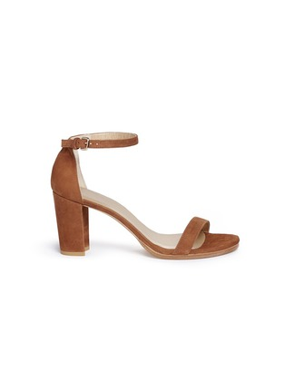Main View - Click To Enlarge - Stuart Weitzman - 'Nearly Nude' block heel suede sandals