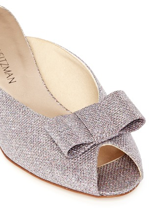 Detail View - Click To Enlarge - Stuart Weitzman - 'Candy' bow peep toe glitter mules