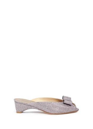 Main View - Click To Enlarge - Stuart Weitzman - 'Candy' bow peep toe glitter mules