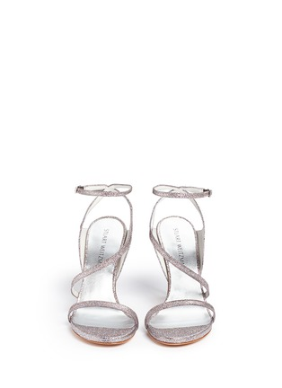 Front View - Click To Enlarge - Stuart Weitzman - 'Sultry' asymmetric strap glitter sandals