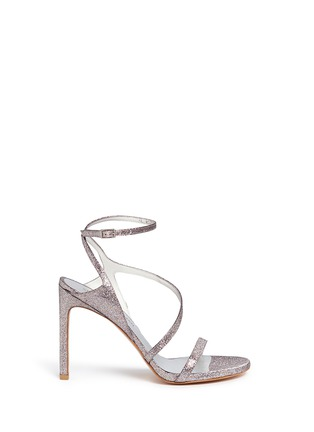 Main View - Click To Enlarge - Stuart Weitzman - 'Sultry' asymmetric strap glitter sandals