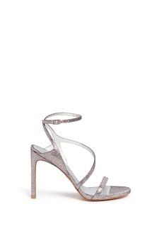 STUART WEITZMAN'Sultry' asymmetric strap glitter sandals