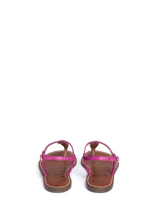 Back View - Click To Enlarge - Sam Edelman - 'Gigi' croc embossed T-strap flat sandals
