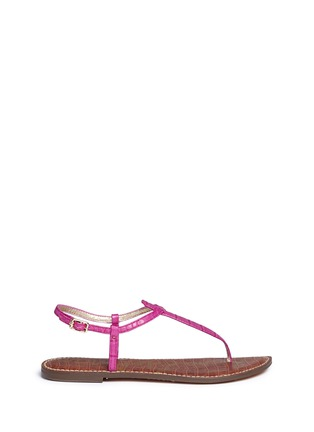 Main View - Click To Enlarge - Sam Edelman - 'Gigi' croc embossed T-strap flat sandals