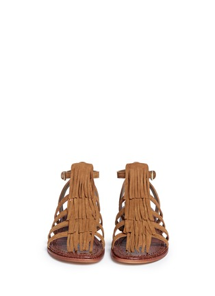 Front View - Click To Enlarge - Sam Edelman - 'Estelle' fringe caged suede sandals
