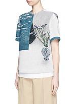 'Daniel' scenic floral print basketweave T-shirt