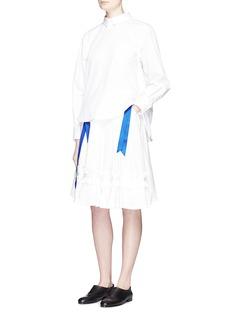 ANGEL CHENRibbon appliqué poplin pleat skirt
