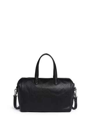 Back View - Click To Enlarge - Elizabeth and James - 'Scott' crosshatch leather duffel bag