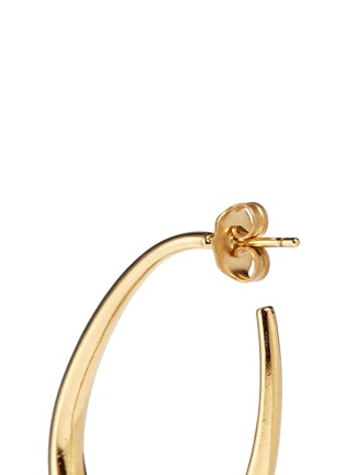 Detail View - Click To Enlarge - Ela Stone - 'Arie' lion head onyx brass hoop earrings