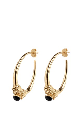 Main View - Click To Enlarge - Ela Stone - 'Arie' lion head onyx brass hoop earrings