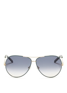 CHLOÉContrast wire-rim aviator sunglasses