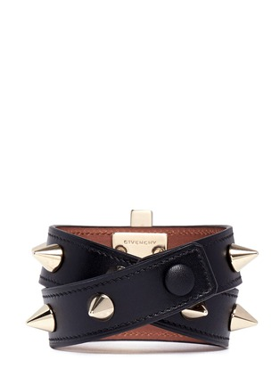 Back View - Click To Enlarge - Givenchy - Obsedia stud double wrap leather bracelet