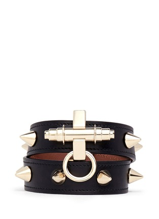 Main View - Click To Enlarge - Givenchy - Obsedia stud double wrap leather bracelet