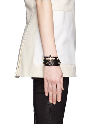 Figure View - Click To Enlarge - Givenchy - Obsedia stud double wrap leather bracelet