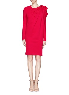 LANVIN Ruche shoulder knit wool dress