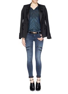 VINCEStitch print silk blouse