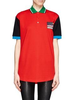 GIVENCHYAmerican flag badge polo shirt