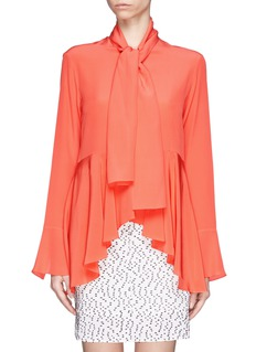 CHLOÉ Peplum silk blouse with detachable scarf