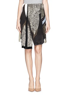 REED KRAKOFFAsymmetric pleat bird print satin skirt