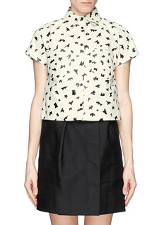 TANYA TAYLOR'Robbie' python embossed lambskin leather cropped shirt