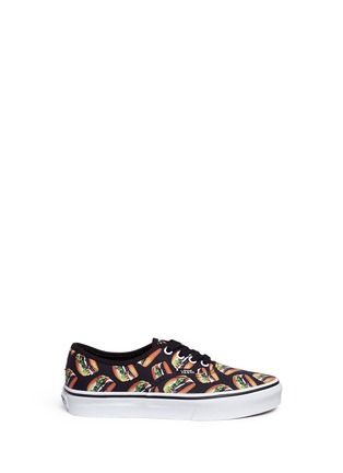 Main View - Click To Enlarge - Vans - 'Authentic Late Night' hamburger print canvas kids sneakers