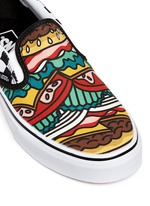 'Classic Late Night' burger print canvas slip-ons