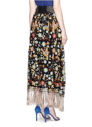 Back View - Click To Enlarge - alice + olivia - 'Kamryn' metallic tassel silk embroidery maxi skirt