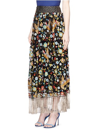 Front View - Click To Enlarge - alice + olivia - 'Kamryn' metallic tassel silk embroidery maxi skirt