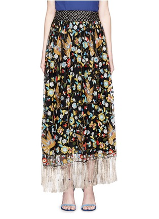 Main View - Click To Enlarge - alice + olivia - 'Kamryn' metallic tassel silk embroidery maxi skirt