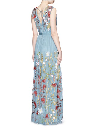Back View - Click To Enlarge - alice + olivia - 'Merrill' floral silk embroidery tulle gown
