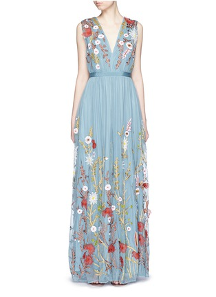 Main View - Click To Enlarge - alice + olivia - 'Merrill' floral silk embroidery tulle gown