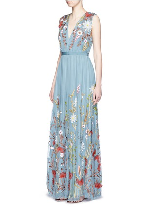 Figure View - Click To Enlarge - alice + olivia - 'Merrill' floral silk embroidery tulle gown