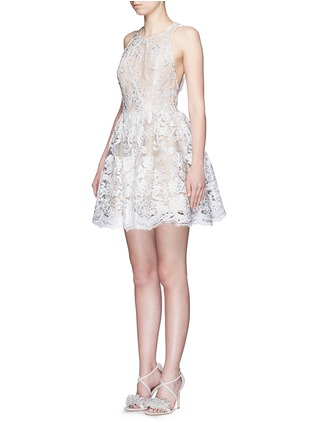 Front View - Click To Enlarge - alice + olivia - 'Ladonna' floral embroidery racerback party dress