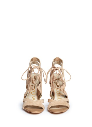 Front View - Click To Enlarge - Sam Edelman - 'Yardley' caged suede sandals