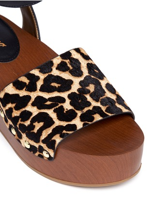Detail View - Click To Enlarge - Sam Edelman - 'Brynn' leopard print calfhair wooden platform sandals
