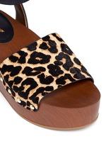 'Brynn' leopard print calfhair wooden platform sandals