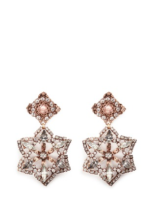 Main View - Click To Enlarge - Erickson Beamon - 'War of the Roses' Swarovski crystal floral drop earrings