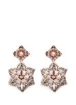 'War of the Roses' Swarovski crystal floral drop earrings
