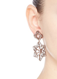 ERICKSON BEAMON 'War of the Roses' Swarovski crystal floral drop earrings