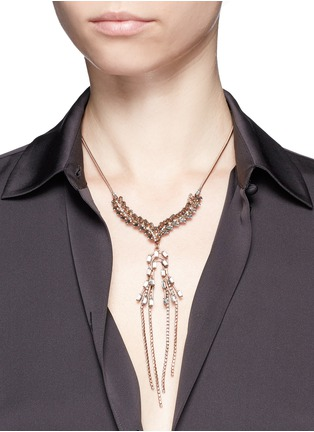 Figure View - Click To Enlarge - Erickson Beamon - 'War of the Roses' Swarovski crystal fringe drop necklace