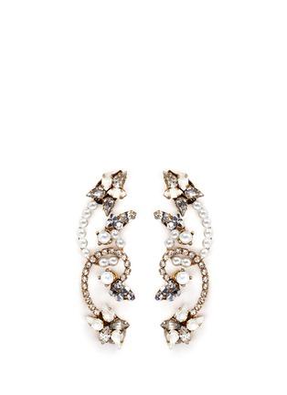 Main View - Click To Enlarge - Erickson Beamon - 'Swan Lake' glass pearl Swarovski crystal swirl earrings