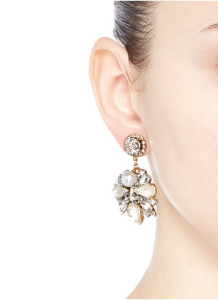 Figure View - Click To Enlarge - Erickson Beamon - 'Swan Lake' 24k gold plated Swarovski crystal drop earrings