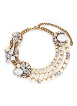 'Swan Lake' tiered faux pearl Swarovski crystal necklace