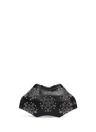 Back View - Click To Enlarge - Alexander McQueen - 'De Manta' floral stud leather clutch